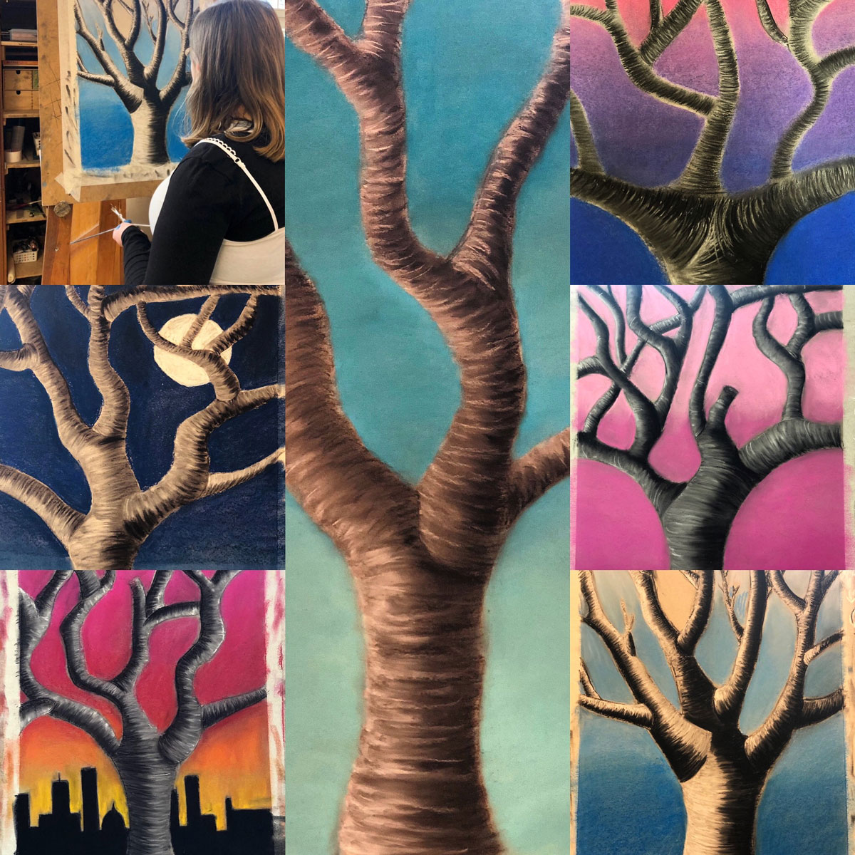Die 9. Klasse zeigt Bilder aus dem Kunstunterricht